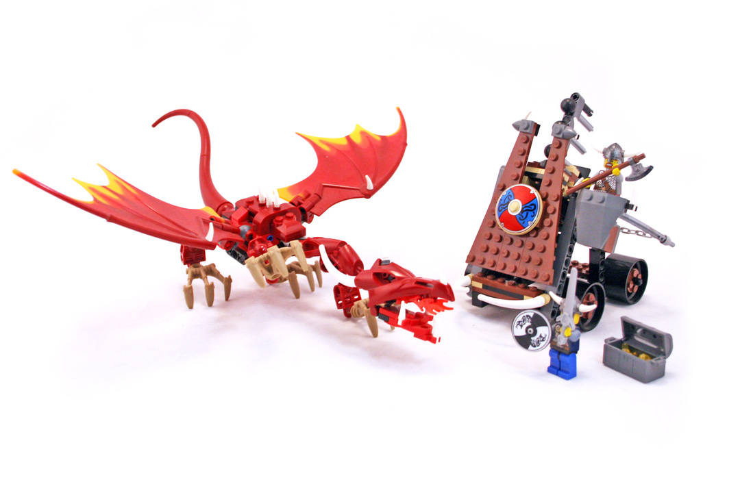 Viking Catapult Versus The Nidhogg Dragon Lego Set 7017 1