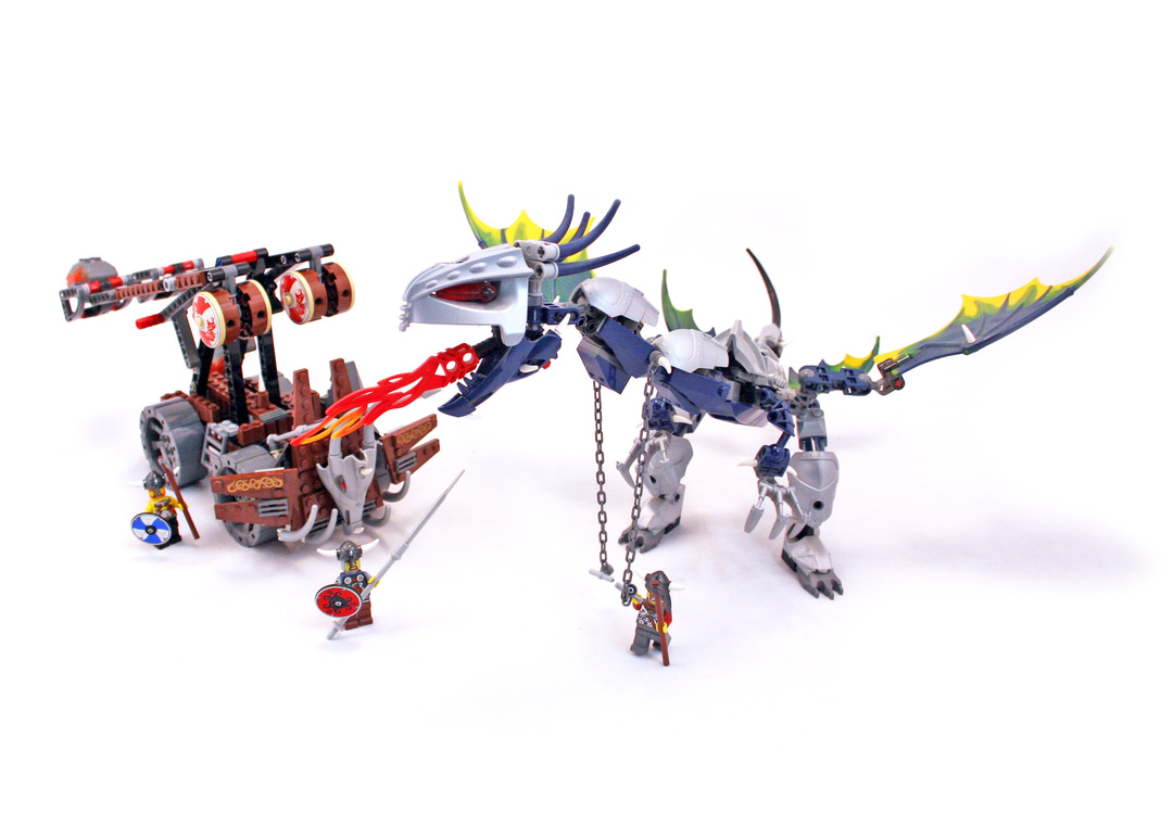 Viking Double Catapault Versus The Armoured Ofnir Dragon Lego Set
